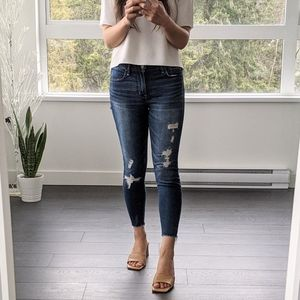 A&F Classic Wash Distressed Ankle Skinny Jeans